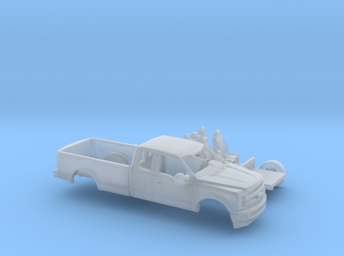 1/87 2017 Ford F-Series Ext Cab Long Bed Kit 3d printed