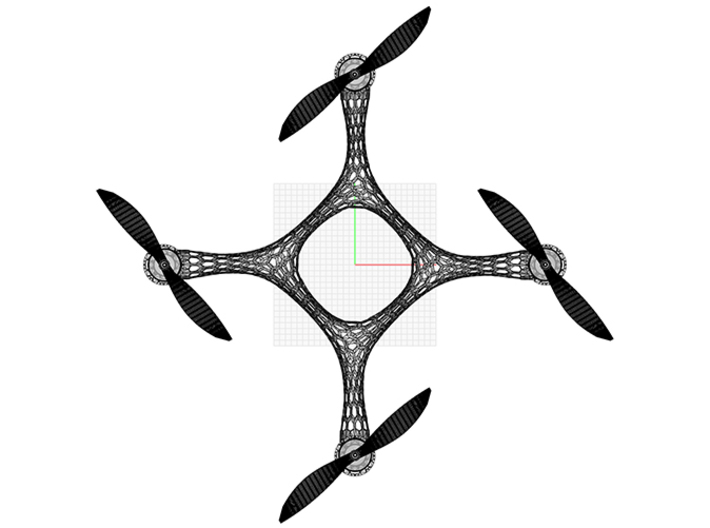 Quadcopter Frame V.1 3d printed topview frame with 7'' props