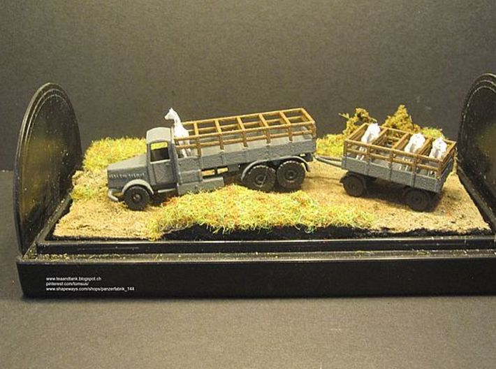 1/144 Faun with 3 ton trailer for horse transport 3d printed