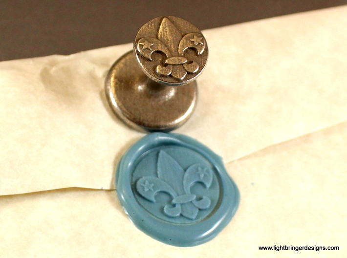 Fleur-de-lis Wax Seal 3d printed Fleur-de-lis wax seal and impression in Light Blue sealing wax