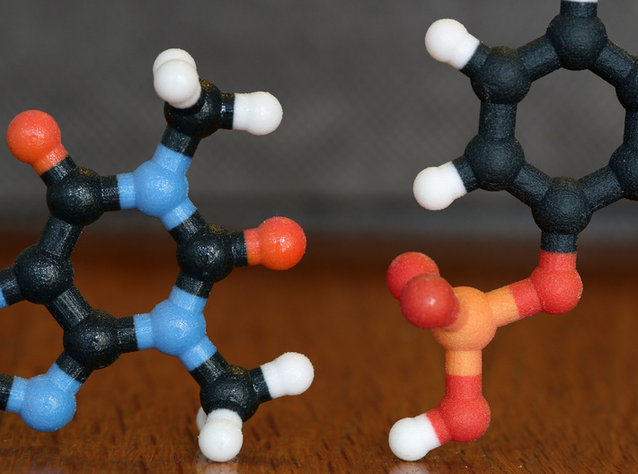 Dopamine Molecule Model. 3 Sizes. 3d printed Coated (left) and non-Coated (right) Full Color Sandstone. Coating gives a much smoother feel.