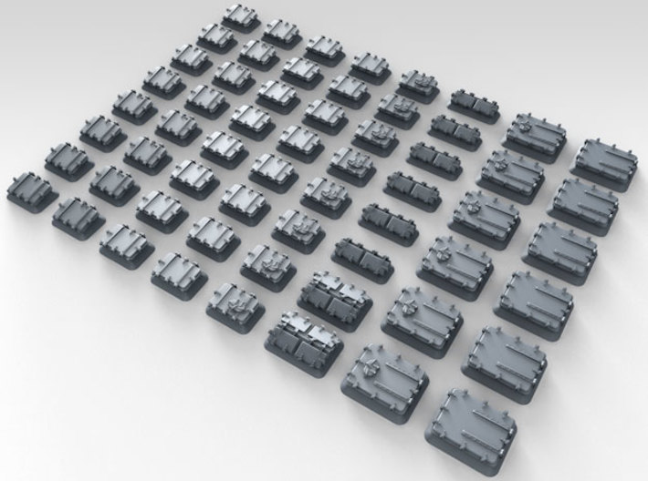 1/500 Royal Navy Assorted Hatches with Blast Plate 3d printed 3d render showing product detail