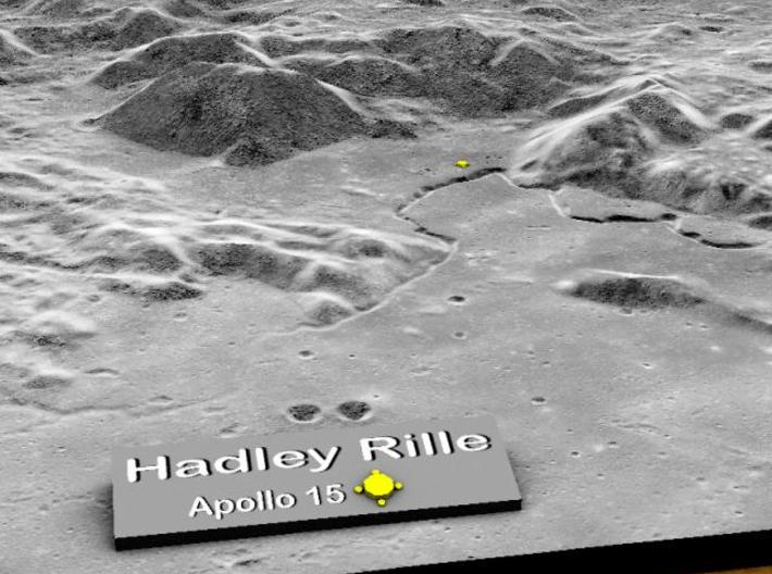 Hadley Rille 15cm 3d printed Close-up of name plate with rille in back