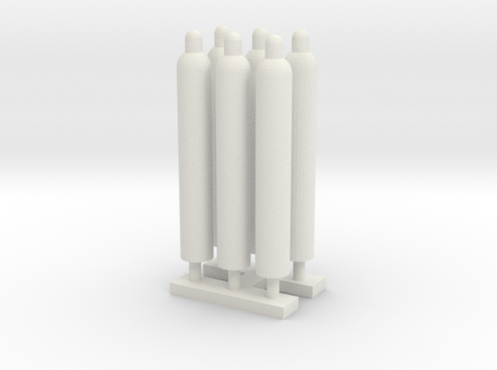 1:64 Gas Cylinders Pack of Six 3d printed