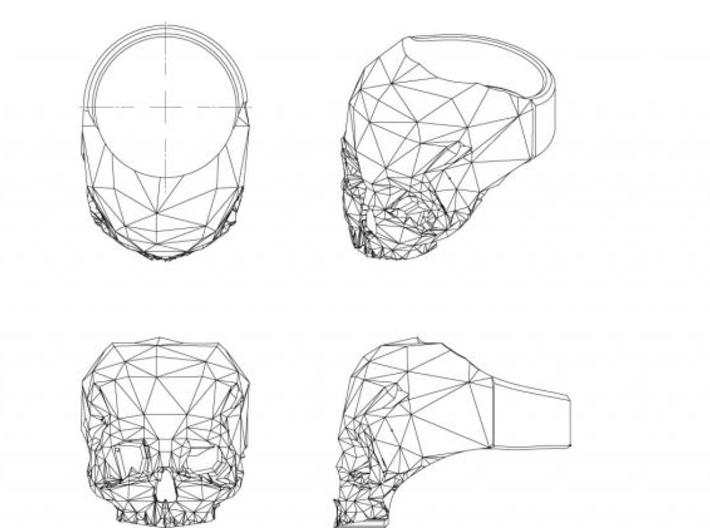 3D Printed Skull Ring by Bits to Atoms 3d printed orthographic