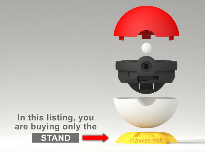 "Pokeball Pokemon Go ""Ring Box"" (STAND) 3d printed This listing includes only the Stand, buy the other parts in the Shop."