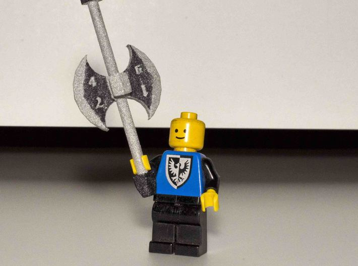 Battleaxe D8 3d printed Hand-inked using a permanent marker.  Lego figure not included.
