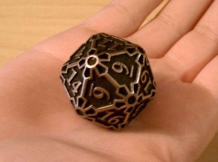 Huge d20 3d printed In stainless steel and inked.