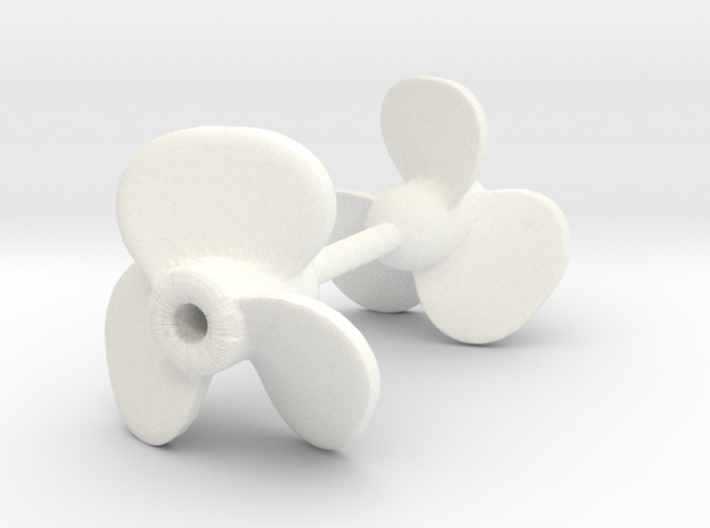 3-blade ship propeller, 10mm diameter, 2 pieces 3d printed