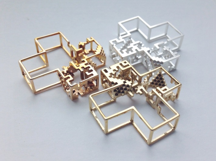 Pixel Pendant 3d printed Polished bronze, brass & silver