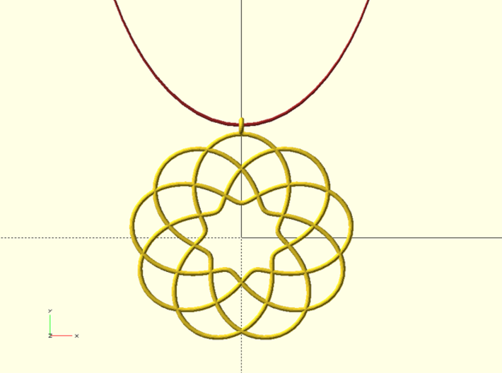 Cyclic-harmonic Pendant 3d printed Digital Image. Not a Photo.