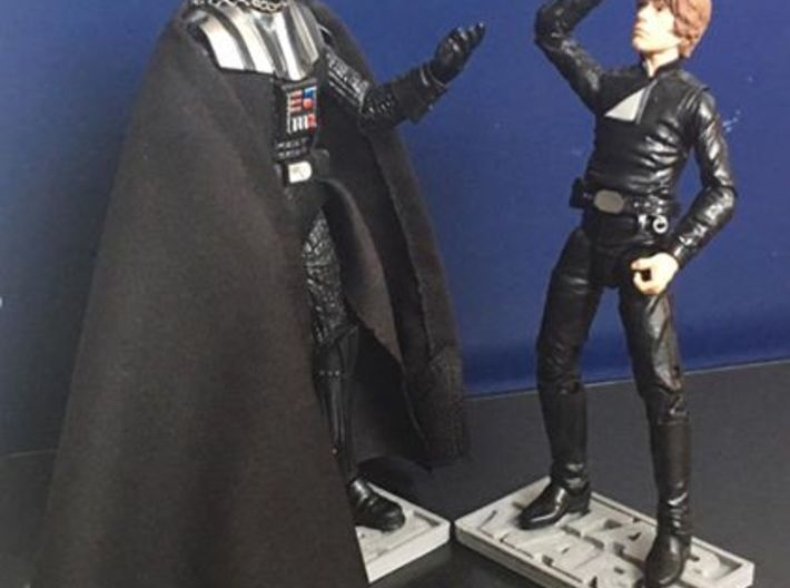 """Star Wars Black Series 6"""" figure base (larger peg) 3d printed *note that the base in this photo is not from shapeways. it is printed from my own personal 3d Printer"""