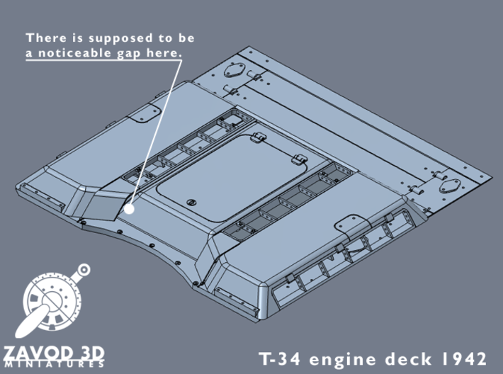 1:35 T-34 Engine Deck 1942 3d printed