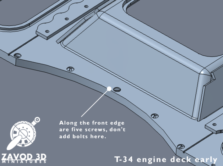 1:35 T-34 Engine Deck Early 3d printed