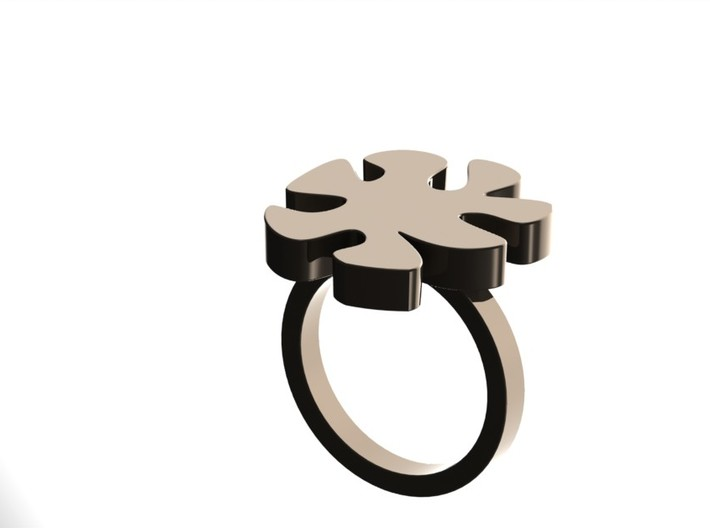 Asymmetric Ring  3d printed Nickel