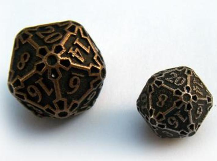 Large Premier d20 3d printed Compared to a standard-sized Die20