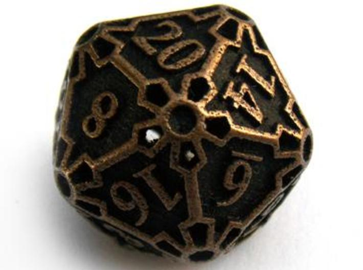 Large Premier d20 3d printed In antique bronze glossy and inked