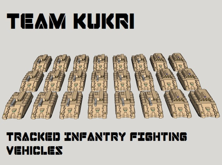 "3mm ""Team Kukri"" Tracked IFV Pack (24pcs) 3d printed"