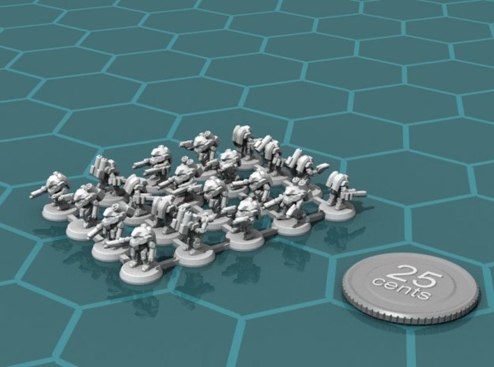 Terran Power Armor Platoon 3d printed Render of the platoon, with a virtual quarter for scale.