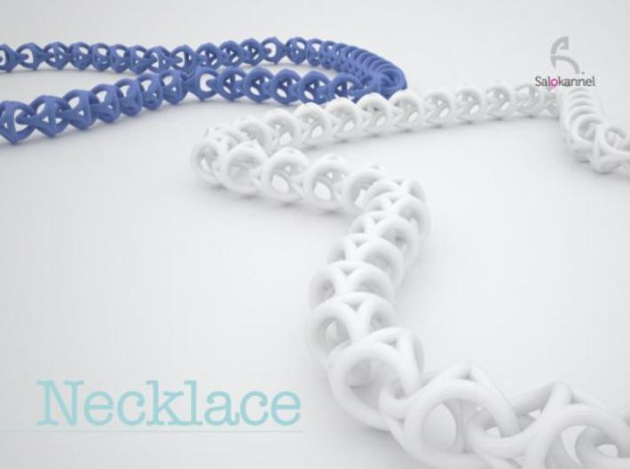 600-Necklace 3d printed Necklace in blue & white