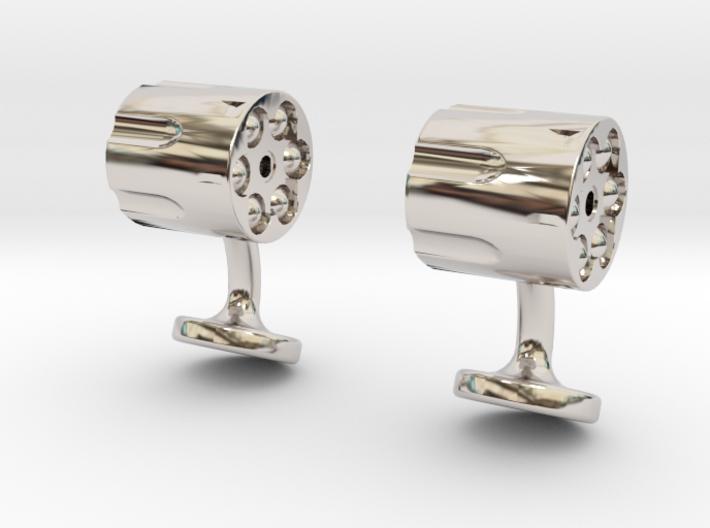 Revolver Cufflinks 3d printed revolver cufflinks rhodium plated