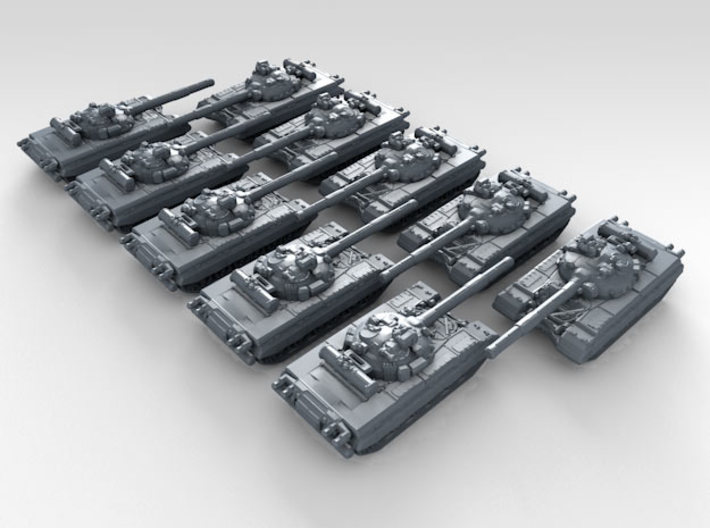 1/600 Russian T-80 Main Battle Tanks x10 3d printed 3d render showing product detail