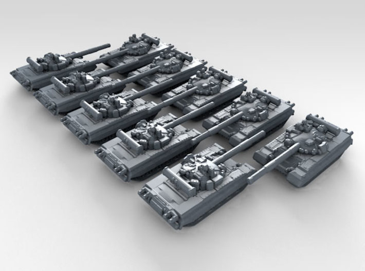 1/600 Russian T-80B Main Battle Tanks x10 3d printed 3d render showing product detail