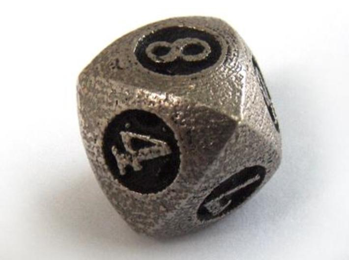 Overstuffed d8 3d printed In stainless steel and inked