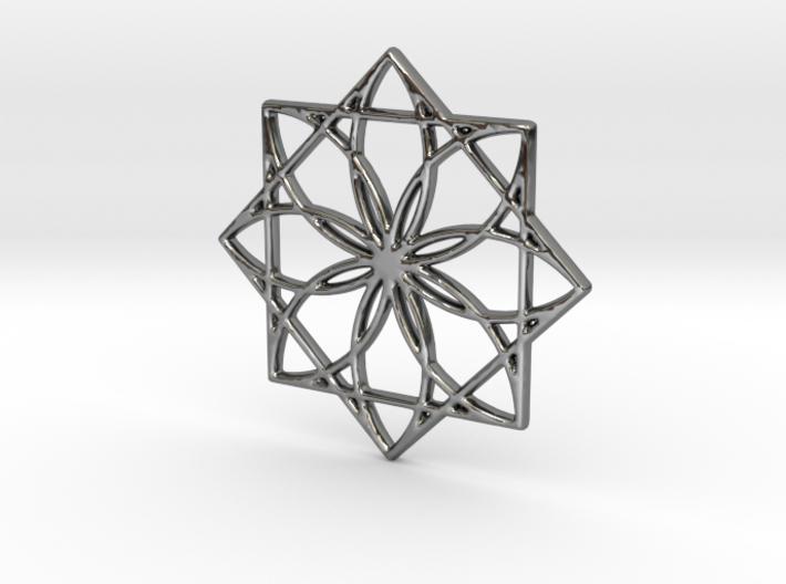 Modern Geometric Floral Pendant Charm 3d printed