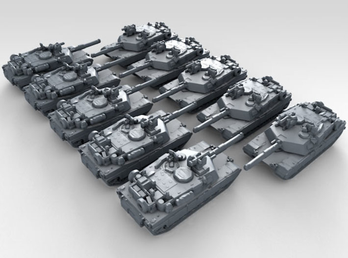 1/600 US M1A2 Abrams Main Battle Tank x10 3d printed 3d render showing product detail