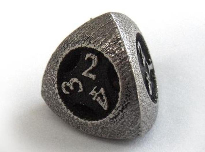 Overstuffed d4 3d printed In stainless steel and inked