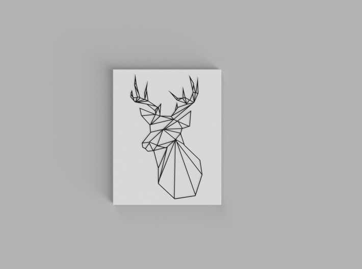 Stags Head Wall Art 3d printed Black, White