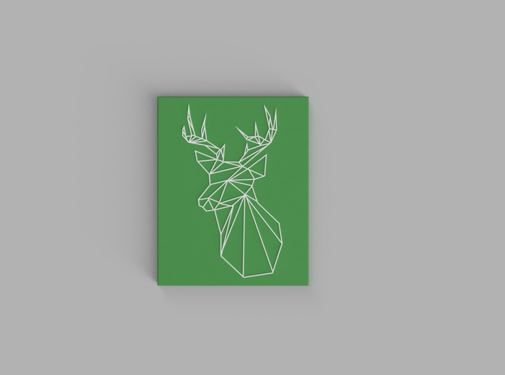 Stags Head Wall Art 3d printed White, Green
