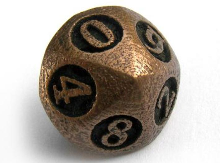Overstuffed d10 3d printed In antique bronze glossy and inked