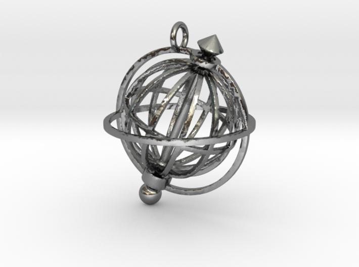 Spinning Globe Pendant 3d printed