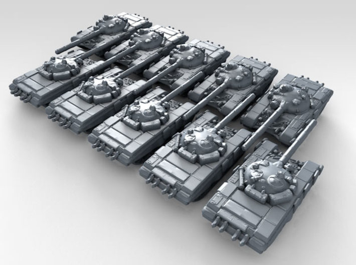 1/700 Russian T-72 Ural Main Battle Tank x10 3d printed 3d render showing product detail