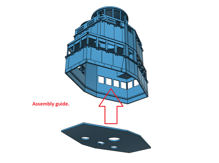 1/96 Texas BB-35 Fighting Top 3d printed Assembly guide.