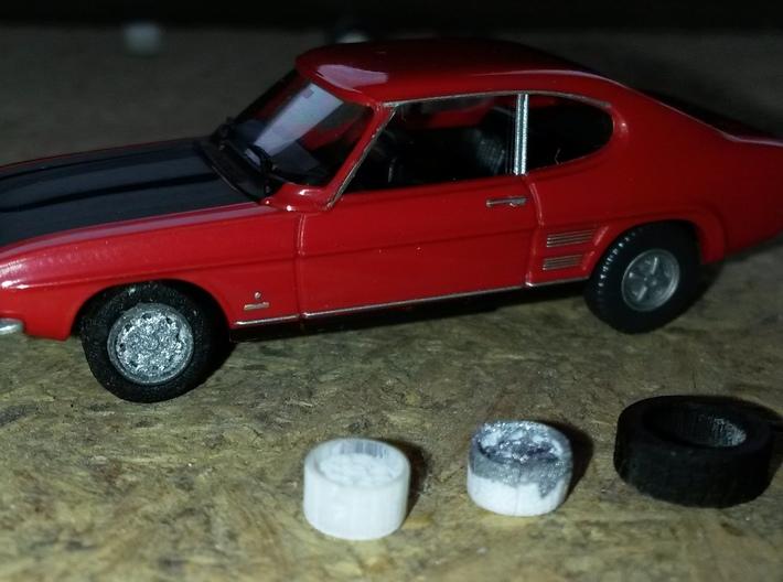 Stahlfelgen für Ford in H0 1:87 - 4er Set mit Reif 3d printed