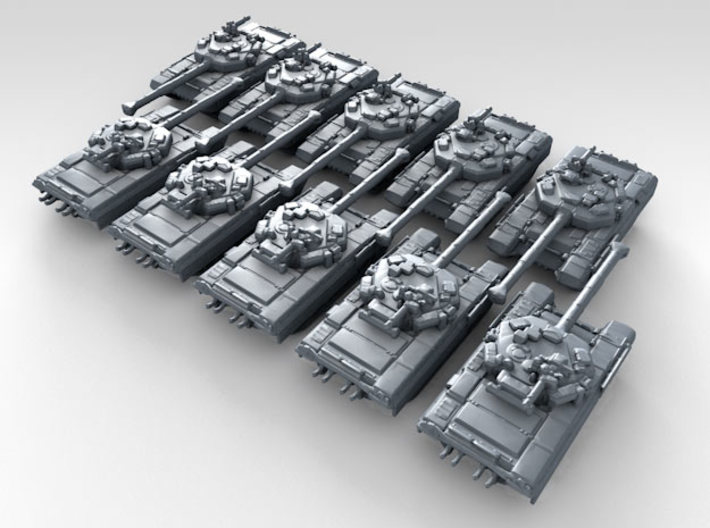 1/600 Russian Object 187 Main Battle Tank x10 3d printed 3d render showing product detail