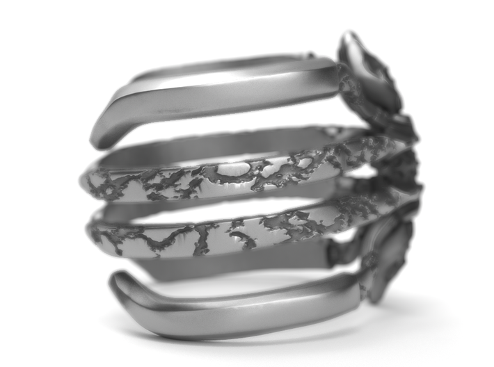 Ring Recluse - Detailed adjustable 3d printed Find it on aged silver here: https://shop.pj3dartist.com/collections/jewelry/products/recluse-detailed-ring