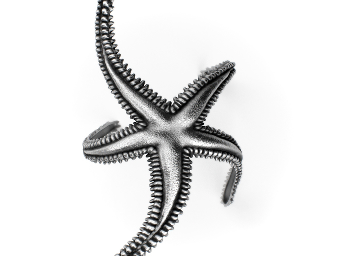 Sea Star Bracelet - Royal Starfish 3d printed Aged silver: https://shop.pj3dartist.com/collections/jewelry/products/sea-star-textured-royal-starfish-bracelet?