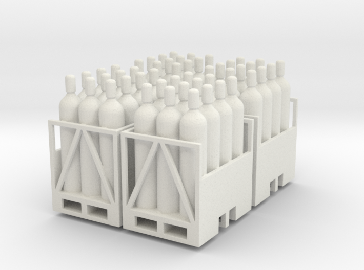 Acetylene Tanks On Pallet 4 Pack 1-87 HO Scale 3d printed