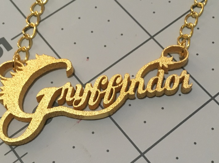 Gryffindor Pendant 3d printed polished gold steel print finished product(chain not included