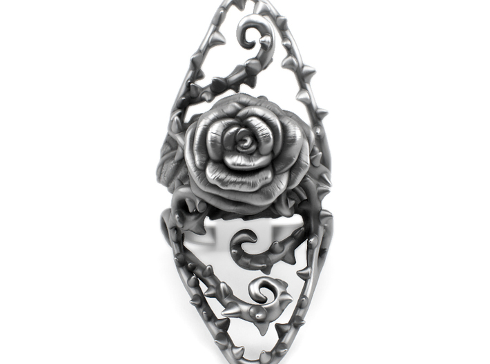 Ring Dangerous - Detailed rose Precious Metal 3d printed Aged silver option available through my website https://shop.pj3dartist.com/collections/jewelry/products/dangerous-detailed-rose