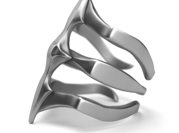 Two Spikes - Sterling Silver Ring 3d printed Aged silver option here: https://shop.pj3dartist.com/collections/jewelry/products/two-spikes-minimal-ring?