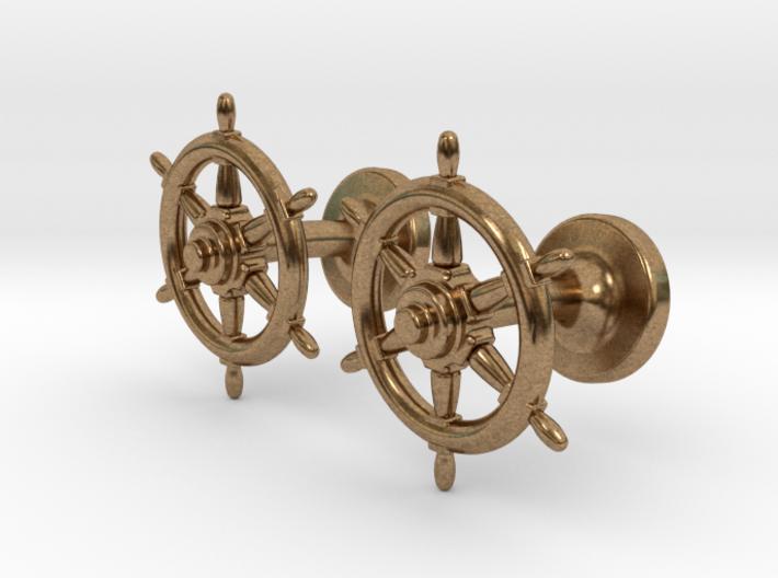 Ships Wheel cufflinks 3d printed