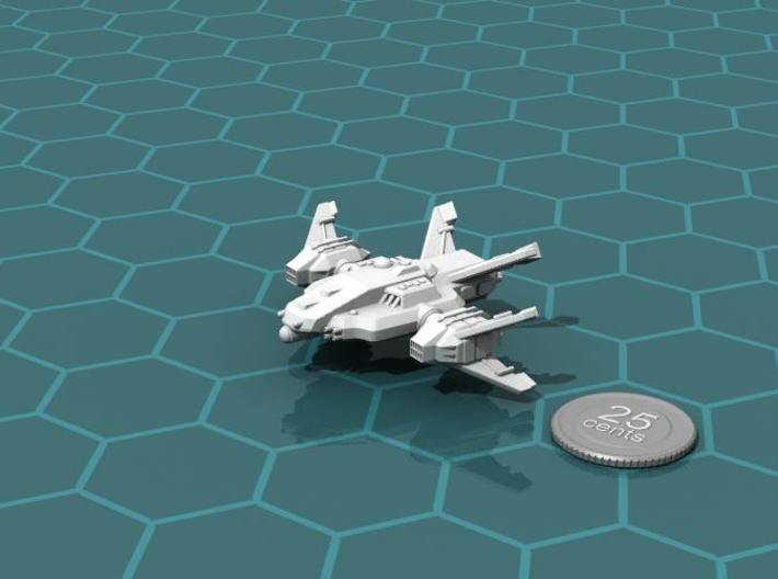 Ryuushi Warleader 3d printed Render of the model, with a virtual quarter for scale..