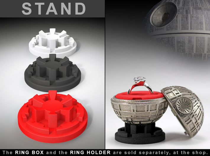 """STAND - To the """"Death Star Ring Box"""" 3d printed Ring Box and Ring Holder, sold separately at the Shop. Ring not included."""