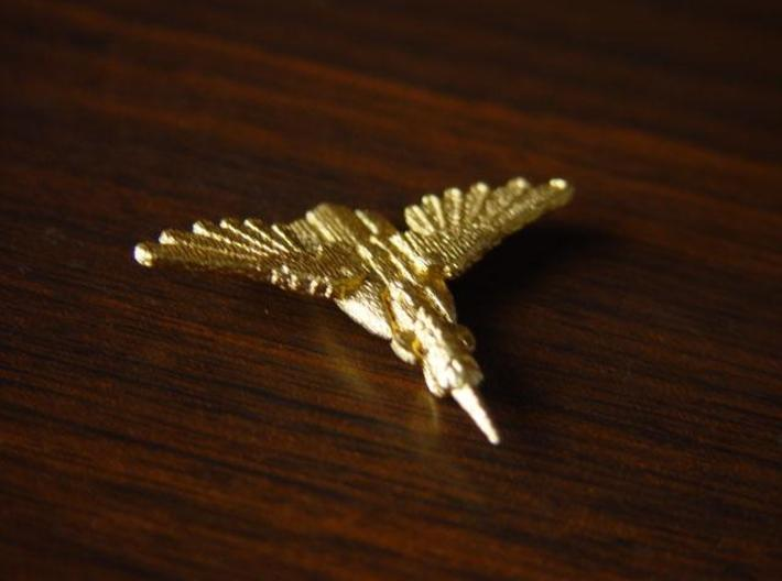 Kingfisher 3d printed Gold plated Stainless Steel