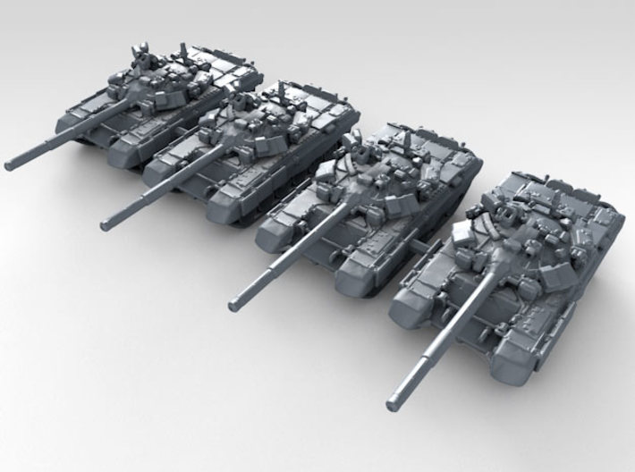 1/350 Russian T-90 Main Battle Tank x4 3d printed 3d render showing product detail